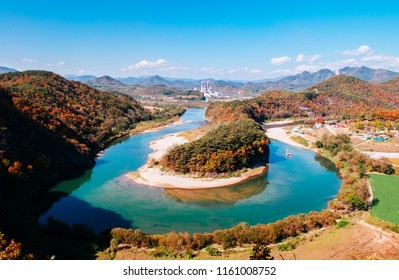 Gangwon-do, South Korea - Beautiful curve and cliff of Seogang river in Seonam village with colourful autumn forest.