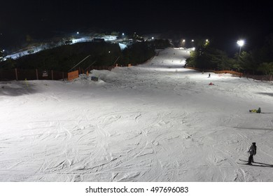 GANGWON-DO, SOUTH KOREA -DEC 16, 2012: People enjoy night Ski at Daemyung Vivaldi Park Ski World. Daemyung Vivaldi Park Ski World is particularly popular due to its daytime and nighttime skiing.