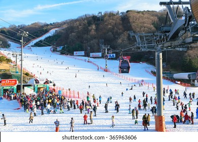 Gangwon-do,Korea-January 4,2016: Daemyung Vivaldi Park ski resorts, attractions, famous and popular in Korea.