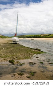 gannel river on the estuary near newquay cornwall england uk. With boat