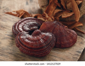 Ganoderma Lucidum Mushroom on wooden background,Ling Zhi Mushroom.
