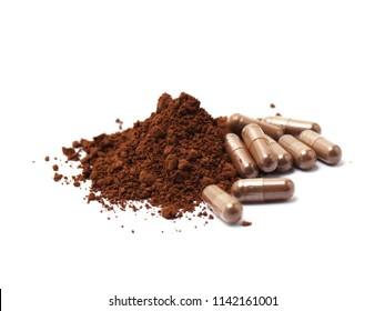 Ganoderma Lucidum powder and capsule isolated on white background.