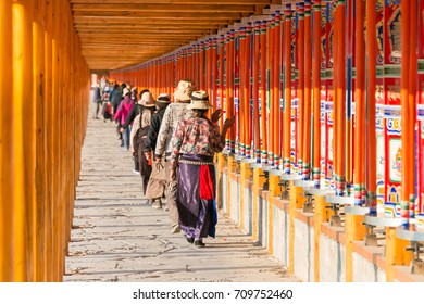 GANSU, CHINA - Aug 08 2016: Pilgrimage route on Labrang Monastery. This is one of the six great monasteries of the Gelug school of Tibetan Buddhism in Xiahe County, Gansu, China.
