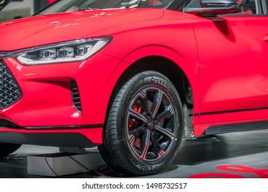 Gansu, China – September 1, 2019: The BYD plug-in hybrid sport SUV e2 on display  International Auto Show in Lanzhou, Gansu, China.