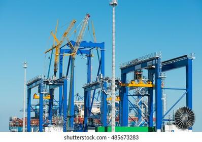 gantry crane in container terminal harbor