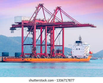 The gantry cranes on board to delivery to new port of Thailand. Big equipment transportation concept.