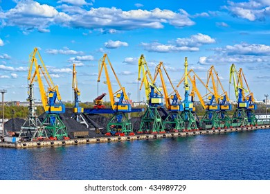 Gantry cranes on Riga coal terminal