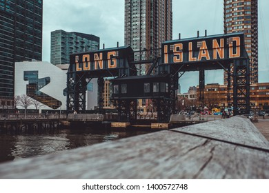 Gantry cranes in Gantry Plaza State Park on the Long Island City waterfront in New York City