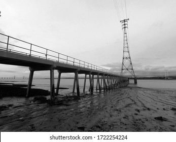 Gantry to a power pilon on the river Severn near Aust.