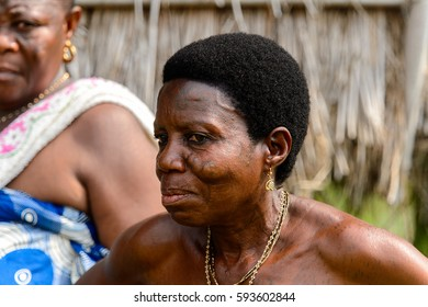 GANVIE, BENIN - JAN 11, 2017: Unidentified Beninese local woman  in a village over the lake Nokwe. Benin people suffer of poverty due to the bad economy.