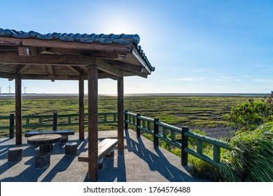 Gaomei Wetlands tourist pathway, a popular scenic spots in Qingshui District, Taichung City, Taiwan
