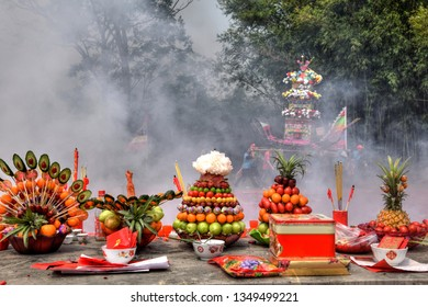 GAOZHOU, CHINA – CIRCA MARCH 2019: Sacrifical altar on the occasion of Nian Li a unique traditional festival in the west of Guangdong Province, China.