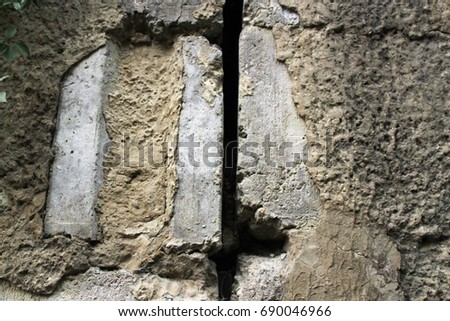 Gap Between Two Halfruined Stone Blocks Stock Photo (Edit Now