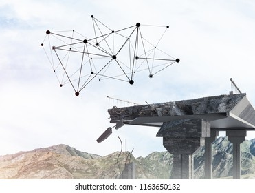 A gap in the concrete bridge with connection lines between as symbol of connectivity. 3d rendering