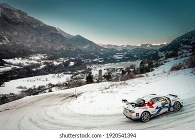 Gap, France; 01 23 2021: Rallye Monte-Carlo 2021. Stage 10, Saint-Clément - Freissinières.