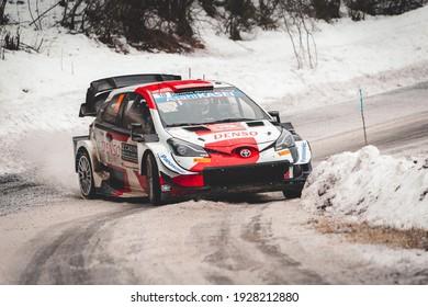 Gap, France; 01 23 2021: Rallye Monte-Carlo 2021. La Bréole - Selonnet 2.