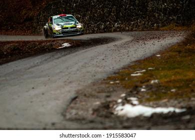 Gap, France; 01-21-2021: Rallye Monte-Carlo, Stage 1, Saint-Disdier - Corps