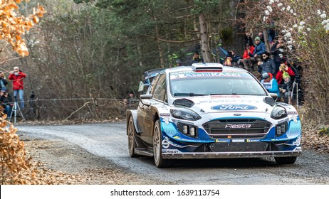 Gap, France - January 24th 2020 : Monte Carlo WRC, Teemu Suninen and Jarmo Lehtinen in their #3 M-Sport WRT Ford Fiesta WRC