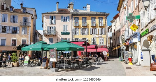 GAP, FRANCE - SEPTEMBER 4, 2018: Central square of Gap. Gap is a commune in south-eastern France, the capital and largest settlement of the Hautes-Alpes department.