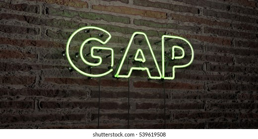 GAP -Realistic Neon Sign on Brick Wall background - 3D rendered royalty free stock image. Can be used for online banner ads and direct mailers.