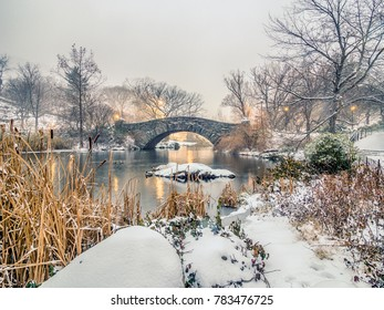 Gapstow bridge after snow storm in Central Park New York City