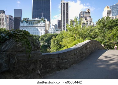 Gapstow bridge under the shade and buildings of Manhattan, New York