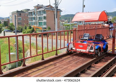 GAPYEONG, REPUBLIC OF KOREA - AUG 23, 2016: A Rail Bike is waiting for Riders at RAIL PARK, which is a Company to manage Rail Bikes on Abandoned Railway in Gapyeong-gun.