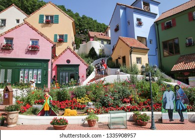 Gapyeong, South Korea - June 16 2018: Colorful Little Prince Statue and European Buildings in Petite France. It Is a Small French Cultural Village Where Korean Drama 'My Love from the Star' Was Filmed