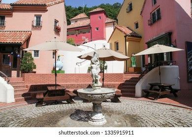 Gapyeong, South Korea - June 16 2018: Fountain at Petite France. Petite France Is a Small French Cultural Village