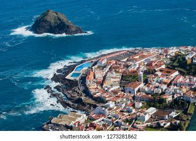 Garachico city, arieal view, Tenerife, Spain