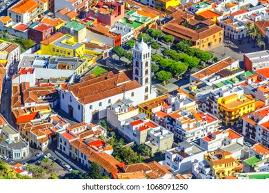 Garachico, Tenerife, Canary islands, Spain: Overview  of the colorful and beautiful town of Garachico and the Church of Santa Ana.