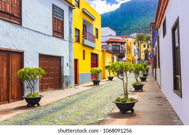 Garachico, Tenerife, Canary islands, Spain: Street view  of the colorful and beautiful town of Garachico.