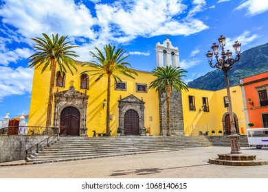 Garachico, Tenerife, Canary islands, Spain: San Francisco monastery exterior and main square in Garachico town
