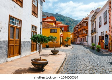 Garachico, Tenerife, Spain, June 08, 2015: Colorful buildings on the streets of Garachico, Tenerife, Canary Islands, Spain