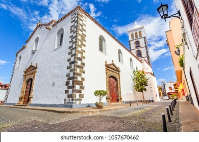 Garachico, Tenerife, Spain - Street view of 16th century Church of Santa Ana in beatifull day.