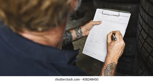 Garage Automotive Tuning Adjustment Clipboard Concept