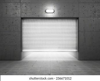 industrial garage door. Garage Building Made Of Concrete With Roller Shutter Doors Industrial Door
