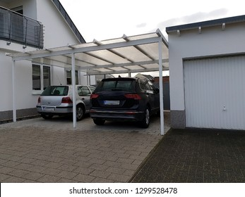 Garage carport roof for car at the house