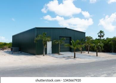 Garage door on a storage shed on a Caribbean island, Bahamas