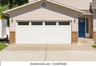 Garage door of residential house
