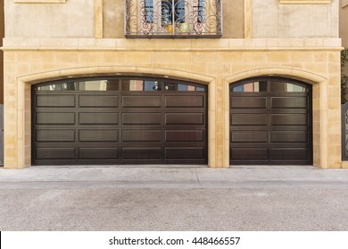 Garage door, windows casting a reflection
