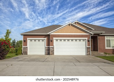 garage doors of a detached house