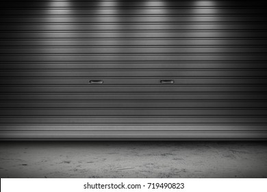 Garage or factory storage gate roller shutter doors building with lighting background