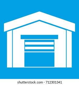 Garage icon white isolated on blue background  illustration