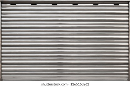 Garage metal roll gate, background photo texture, front view