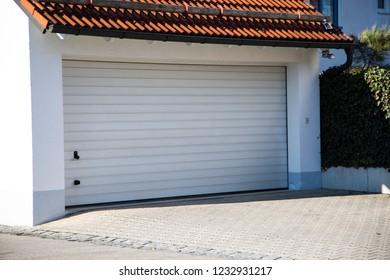 Garage, modern garage, white shutter