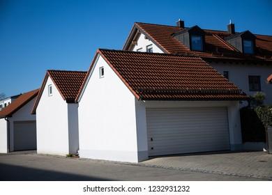 Garage, modern garage, white shutter,