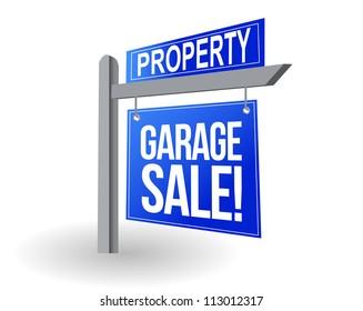 Garage sale blue sign illustration design over white