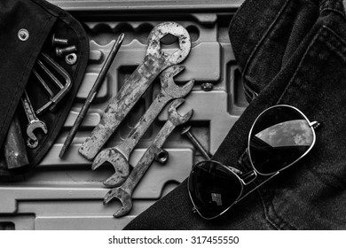 Garage tool box work, Black and white photo
