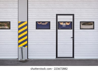 Garages door detail in race circuit.